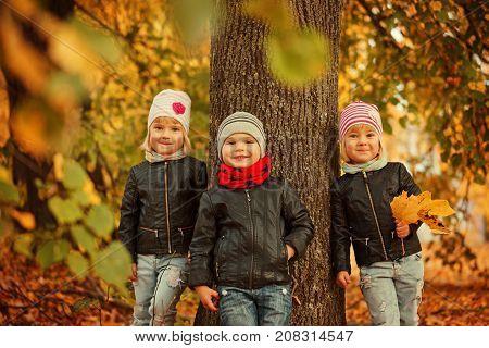 Portrait Three happy friends kids in autumn park - child leisute and friendship