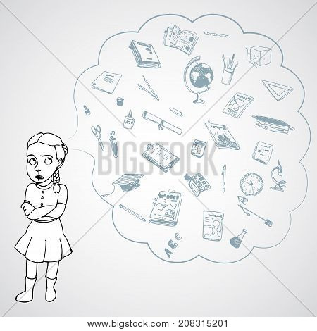 Child, girl, teen, teenager in bad mood. Study, studying, learning problems. School objects in a cloud. Vector outlined illustration. White image, gray background.