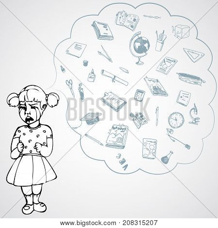 Child, girl, teen, teenager crying. Study, studying, learning problems. School objects in a cloud. Vector outlined illustration. White image, gray background.