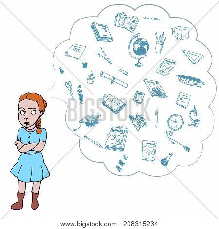Child, girl, teen, teenager in bad mood. Study, studying, learning problems. School objects in a cloud. Vector outlined illustration. Colored image, white background.