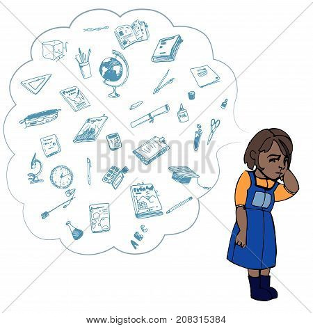 Dark skinned child, girl, teen, teenager standing frustrated. Study, studying, learning problems. School objects in a cloud. Vector outlined illustration. Colored image, white background.