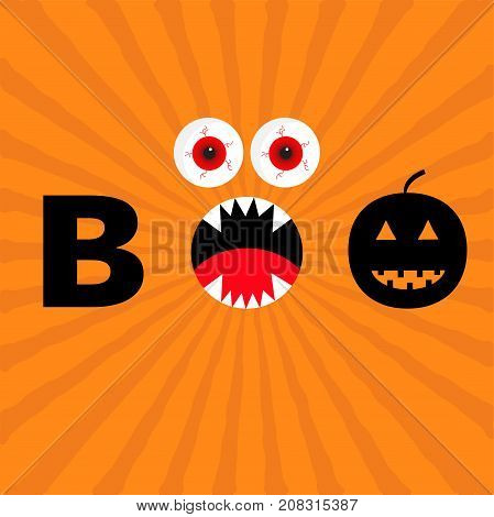 Word BOO text with smiling sad black pumpkin silhouette. Angry screaming mouth fangs tongue. Red eyes. Evil eyeballs. Happy Halloween. Greeting card. Flat design. Orange starburst background. Vector
