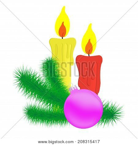Vector illustration of the candles and Christmas branch.