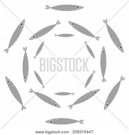 Sardine gray fish set. Iwashi. Sardina pilchardus school. Cute cartoon character. Anchovy pilchard. Water animal Marine life. Round circle frame. Flat design. White background. Isolated. Vector