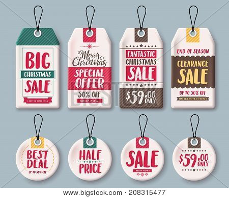 Christmas tags vector template set and price tags in white paper with sale, discount and greeting text for christmas holiday shopping promotion. Vector illustration.