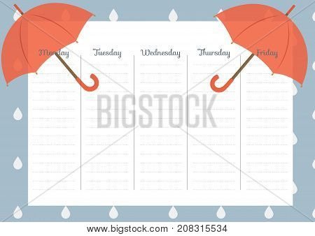 Cute Calendar Weekly Planner Template. AutumnTheme Illustration. Organizer and Schedule.