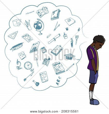 Dark skinned child, boy, teen, teenager standing frustrated. Study, studying, learning problems. School objects in a cloud. Vector outlined illustration. Colored image, white background.