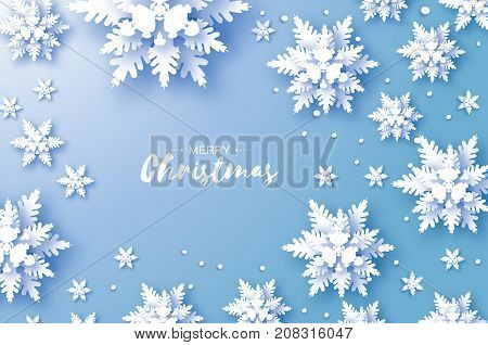 Origami Snowfall. Merry Christmas Greetings card. White Paper cut snow flake. Happy New Year. Winter snowflakes background. Space for text. Holidays. Blue background. Vector illustration.