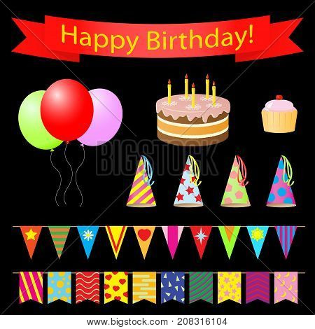 Birthday party design elements set. Vector illustration.