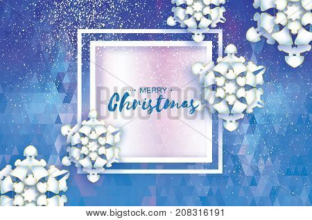 Origami Snowfall. Merry Christmas Greetings card. White Paper cut snow flake. Happy New Year. Winter snowflakes. Square frame. Space for text. Holidays. Blue polygonal background. Vector illustration.