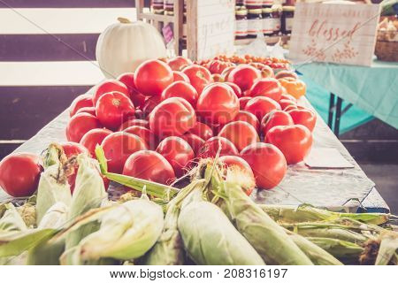 Farm fresh Jersey sweet corn and tomatoes on display at farmers market harvest festival