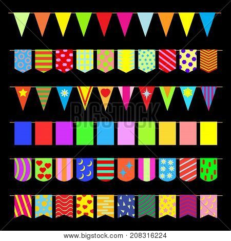 Set of garlands of colored flags. Vector illustration.
