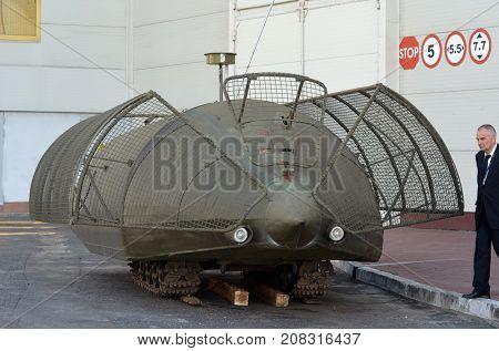 Improvised armored fighting vehicle for Civil War. Model Shush-Panzer.Industrial degradation of Ukraine.Kiev,Ukraine.October 10, 2017