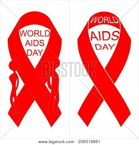 Vector red ribbon for world aids day