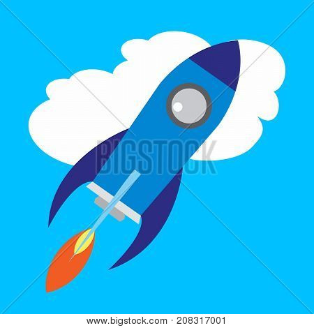 Flat Space Shuttle Rocket Icon. Vector illustration.
