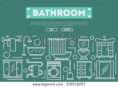 Bathroom renovation poster with washing machine, shower cabin, toilet, bathtub, towel dryer, washbasin elements in linear style. Home interior design, modern apartment decoration vector illustration