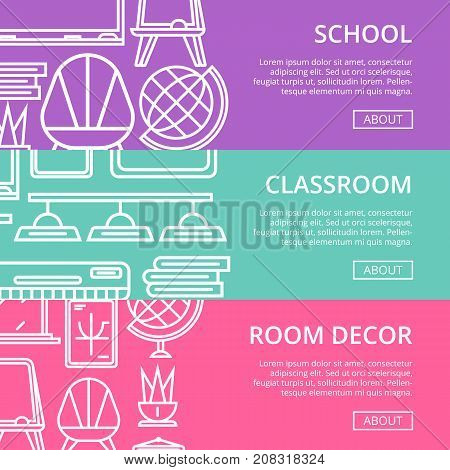 School classroom furniture linear posters. Class interior design, modern school decoration banners. Desk, chair, doorway, lamp, floor whiteboard, globe, air conditioner, blackboard vector illustration