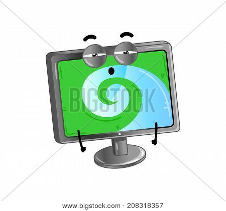 Funny lcd monitor isolated cartoon character. Modern appliance with emotional face, home electronic device comic mascot vector illustration.