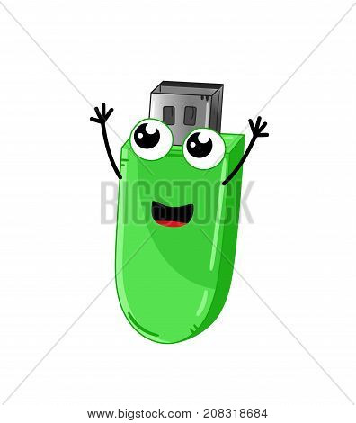 Funny usb flash drive isolated cartoon character. Modern appliance with emotional face, home electronic device comic mascot vector illustration.