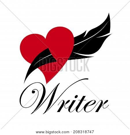 Vector sign writer. Inkwell in a heart. Love story