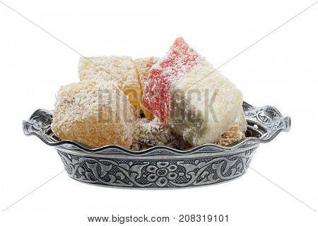 Traditional Turkish sweet called lokum isolated on white background