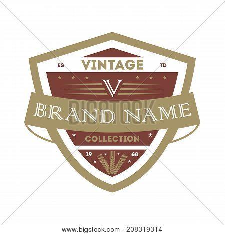 Classic vintage company identity element. Premium quality badge, company retro symbol, product identity design vector illustration.