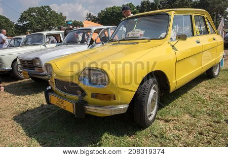 Vintage Yellow Citroen Ami 8 (1970)  Presented On Annual Oldtimer Car Show, Israel