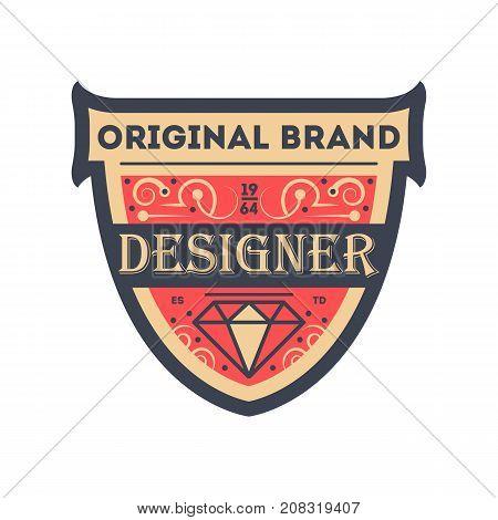 Original product identity sticker in red style. Premium quality badge, company retro symbol, company identity design vector illustration.