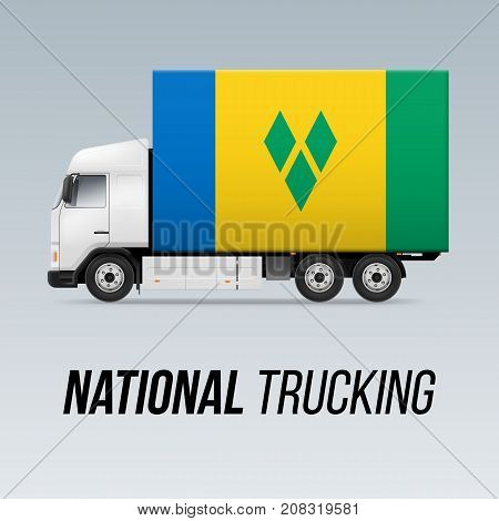 Symbol of National Delivery Truck with Flag of Saint Vincent and the Grenadines. National Trucking Icon and flag colors