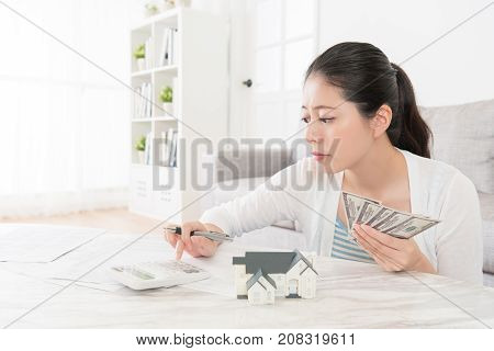 Beauty Sweet Woman Using Calculator Counting