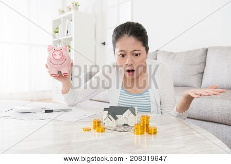 Young Pretty Housewife Holding Piggy Bank