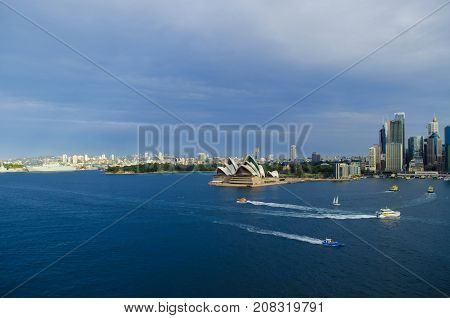 SYDNEY AUSTRALIA - AUGUST 15 2017.Vew on the Skyline of Sydney and the Sydney Opera House. Seen from the Sydney Harbour Bridge.