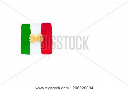 one pasta and flag of Italy italian food isilated on white background