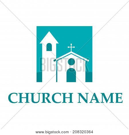 Vector sign square church with steeple and ceiling rose