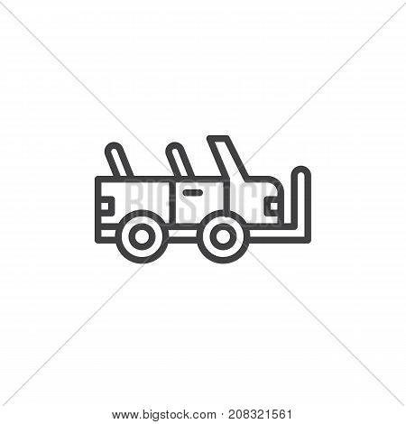 Military vehicle line icon, outline vector sign, linear style pictogram isolated on white. Off road car symbol, logo illustration. Editable stroke
