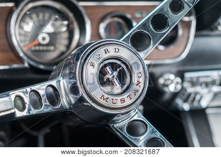 1966 Vintage Ford Mustang Interior - Steering Wheel With Logo And Dashboard