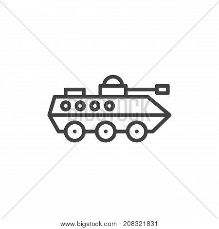 Amphibious military vehicle line icon, outline vector sign, linear style pictogram isolated on white. Infantry armored vehicle symbol, logo illustration. Editable stroke