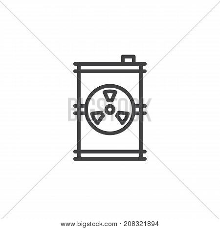 Toxic barrel line icon, outline vector sign, linear style pictogram isolated on white. Radioactive waste symbol, logo illustration. Editable stroke