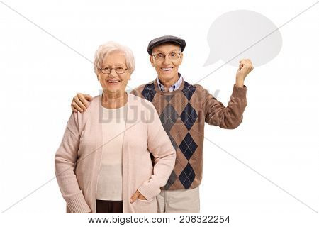 Senior couple with a chat bubble isolated on white background