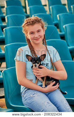 smiling girl relaxing with dog Chihuahua. baby girl with a pet dog on the ground of the stadium.