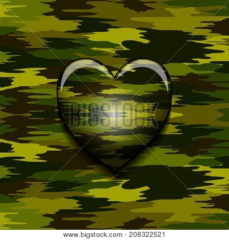 Illustration of a camouflaged military heart as a symbol of courage