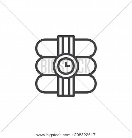 Dynamite with stopwatch line icon, outline vector sign, linear style pictogram isolated on white. Explosive bomb symbol, logo illustration. Editable stroke