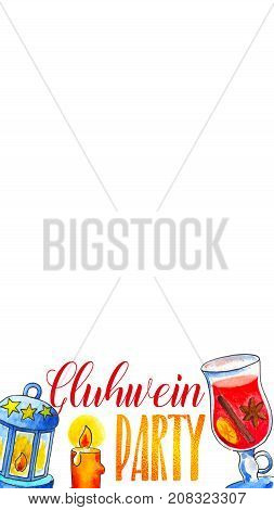 Gluhwein party snapchat geofilter. Watercolor winebottle and glass decor for smartphone screen. Autumn season party photo filter. Social media photo frame. Birthday celebration snapchat geofilter