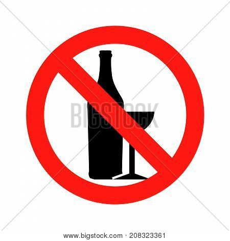 No alcohol No drunk sing symbol icon vector illustration eps