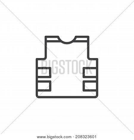 Bulletproof vest line icon, outline vector sign, linear style pictogram isolated on white. Flak jacket symbol, logo illustration. Editable stroke