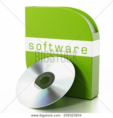 Green software box isolated on white background. 3D illustration.