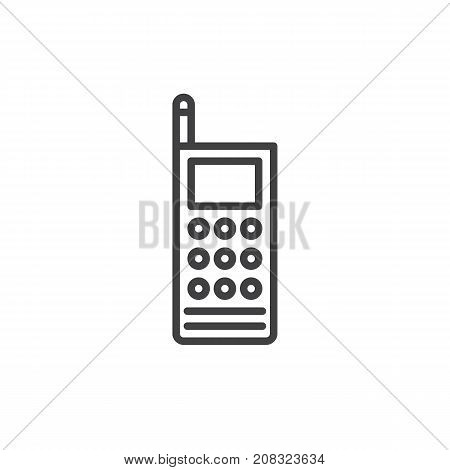 Walkie talkie line icon, outline vector sign, linear style pictogram isolated on white. Portable two-way radio transceiver symbol, logo illustration. Editable stroke