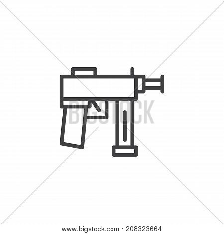 Automatic gun line icon, outline vector sign, linear style pictogram isolated on white. Firearm symbol, logo illustration. Editable stroke