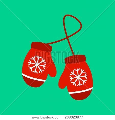 Vector illustration pair of knitted christmas mittens on green background. Mitten icon. Christmas greeting card with mittens Eps 10