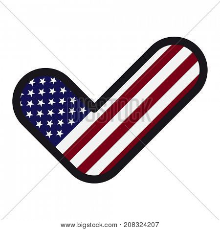 Flag of America in the shape of check mark, sign approval, symbol of elections, voting.